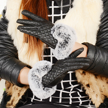 New Women Synthetic Leather Gloves Occident Autumn Winter High Quality Cony Hair Grid Pattern Thicken Keep Warm HX16891