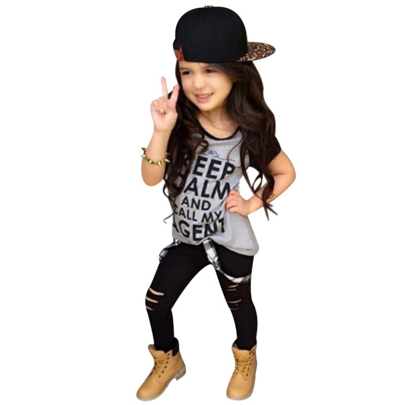 2017 Stylish Fashion Kid Baby Girls Clothes Tops T Shirt Pants