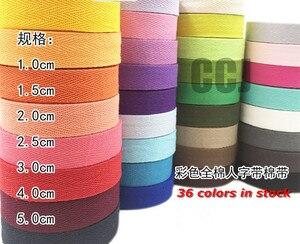 Image 1 - 36 צבעים 20mmx50yard חגורה כותנה אריג אדרה גבתון סינר קלטת תפירת רצועת משלוח חינם