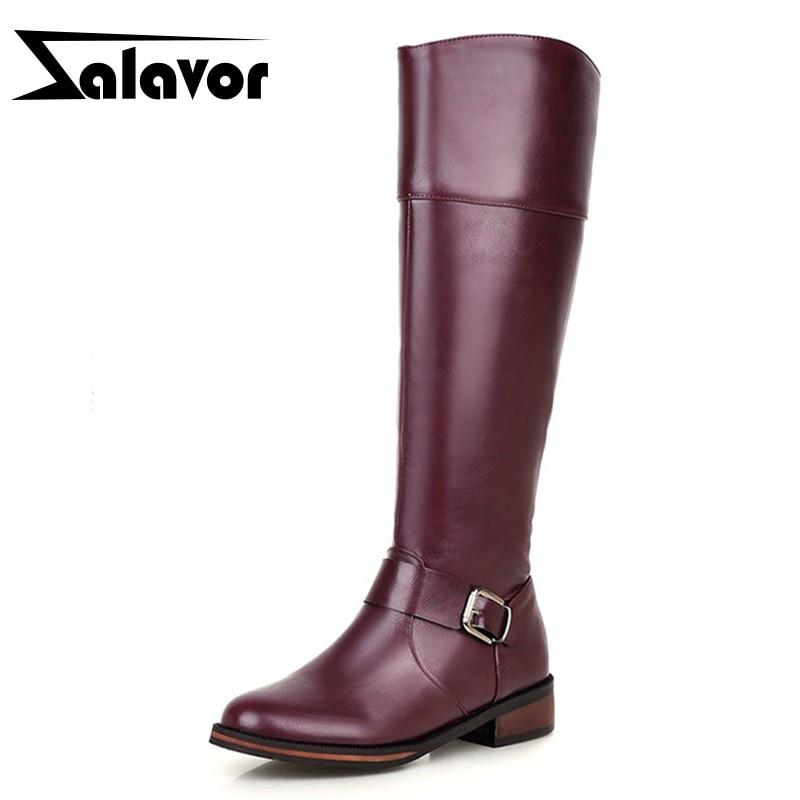 ZALAVOR 暖かい靴女性厚い毛皮インサイド膝ブーツの女性グラディエーターハイヒール冬のファッション Bota Ş 女性騎士雪のブーツサイズ 32  43  グループ上の 靴 からの ニーハイブーツ の中 1