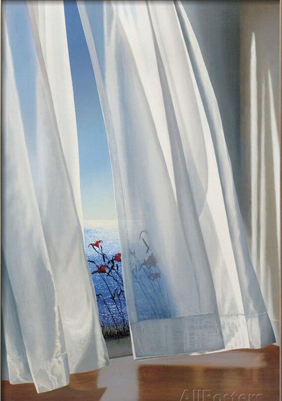 Art décoratif vue d'outre-mer lys du crépuscule par Alice Dalton peinture marron haute qualité Photo sur toile paysage peint à la main