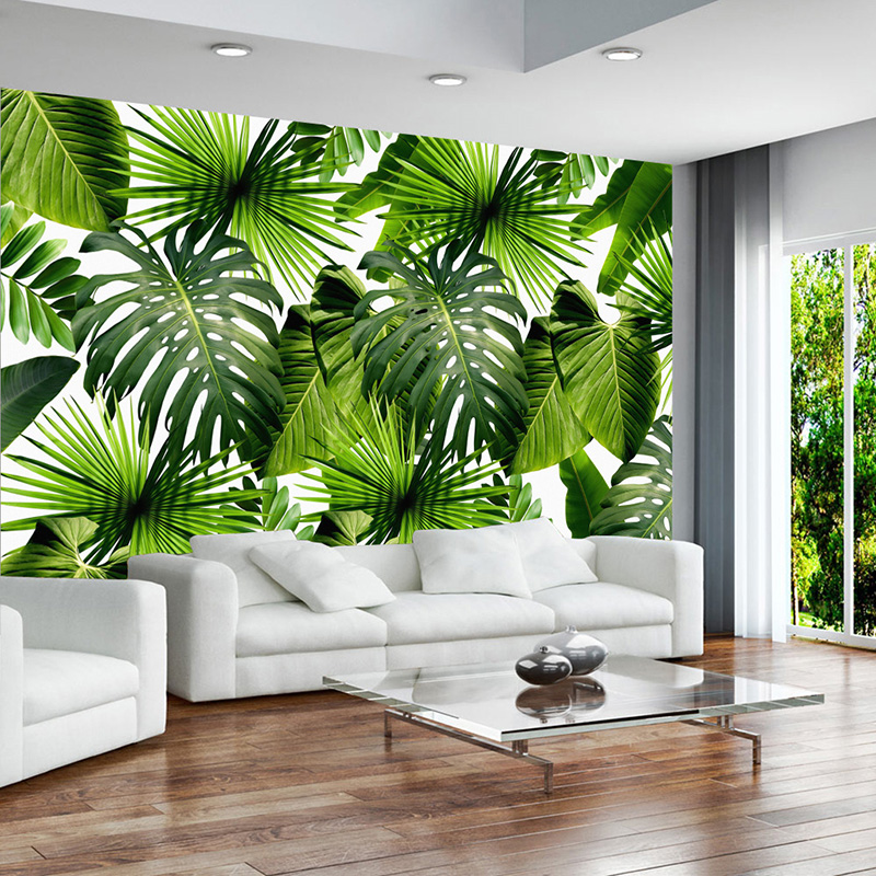 Custom 3D Mural Wallpaper Tropical Rain Forest Banana Leaves Photo Murals Living Room Restaurant Cafe Backdrop Wall Paper Murals