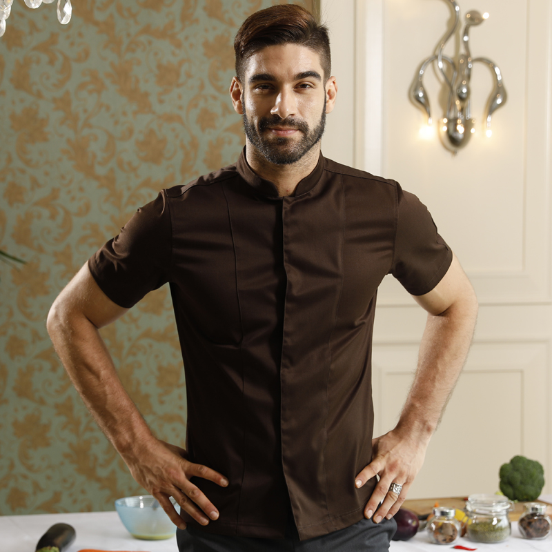 Uniforme de chef de Restaurant de boulangerie à manches courtes d'été lavable et respirant uniforme de café à col montant classique