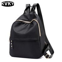 KVKY High Quality Multifunctional Backpack Girls Casual Solid Black Nylon School Bag Women S Large Travel