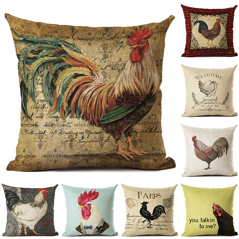 Vintage Colorful Cock Printed Cotton Linen Pillowcase Decorative Pillows Cushion Use For Home Sofa Car Office Almofadas Cojines