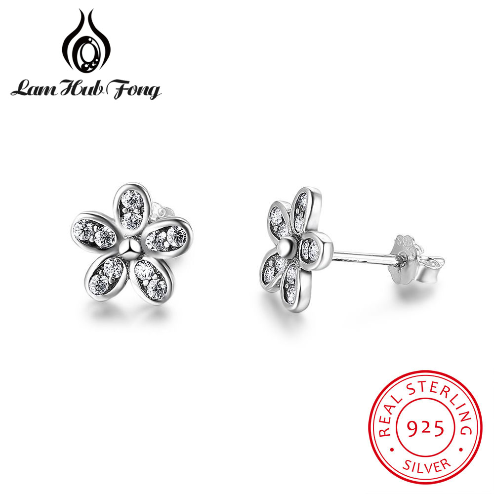 New Real Solid 925 Sterling Silver Flower Stud Earrings for Women Cute Daisy Small Earrings Wedding Fine Jewelry (Lam Hub Fong)New Real Solid 925 Sterling Silver Flower Stud Earrings for Women Cute Daisy Small Earrings Wedding Fine Jewelry (Lam Hub Fong)
