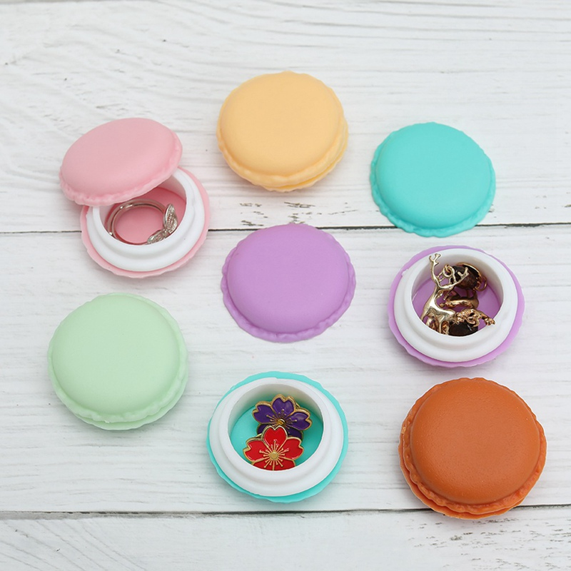 1 Pcs Portable Candy Color Mini Cute Macarons Jewelry Ring Necklace Carrying Case Organizer Storage Box Freeshipping