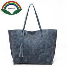 Hojoee Women s Soft Leather Handbag High Quality Women Shoulder Bag Luxury Brand Tassel Bucket Bag