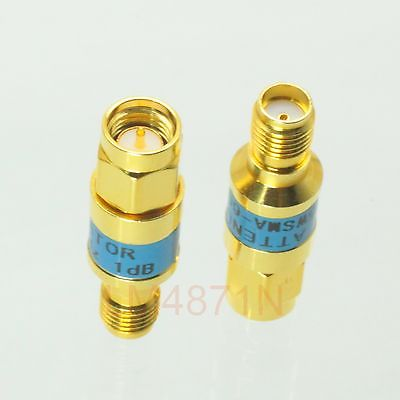 Attenuator 2W 2 Watts 1pc DC-3 Ghz 1dB SMA RF coaxial Power M to Jack F 50 gold attenuator 2w 2 watts dc 3 ghz 20db n rf coaxial power plug m to jack f 50 ohm 1pce
