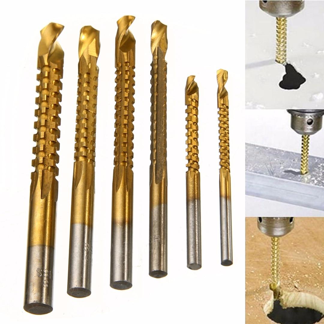цена на 6pcs Titanium Coated HSS Drill Bit 3mm/4mm/5mm/6mm/6.5mm/8mm Woodworking Hole Cutter Tools Set