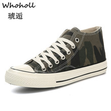Whoholl Fashion High Top Women Vulcanize Sewing Camouflage Greyhound Print Leisure Canvas Shoes High-top Woman 2019