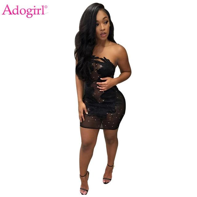 Adogirl Beaded Sheer Mesh Appliques Mini Dress 2018 Fashion Sexy Strapless  Bandage Night Club Dresses Micro Party Dress Vestidos de8bdb996096