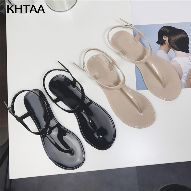 KHTAA Women T Strap Flat Ankle Buckle Thong Sandals Female Gladiator Flip Flops Summer Beach Casual Fashion Vintage Shoes Jelly new summer fashion sexy personality wings women sandals buckle casual gladiator ankle strap flat shoes woman size 35 41