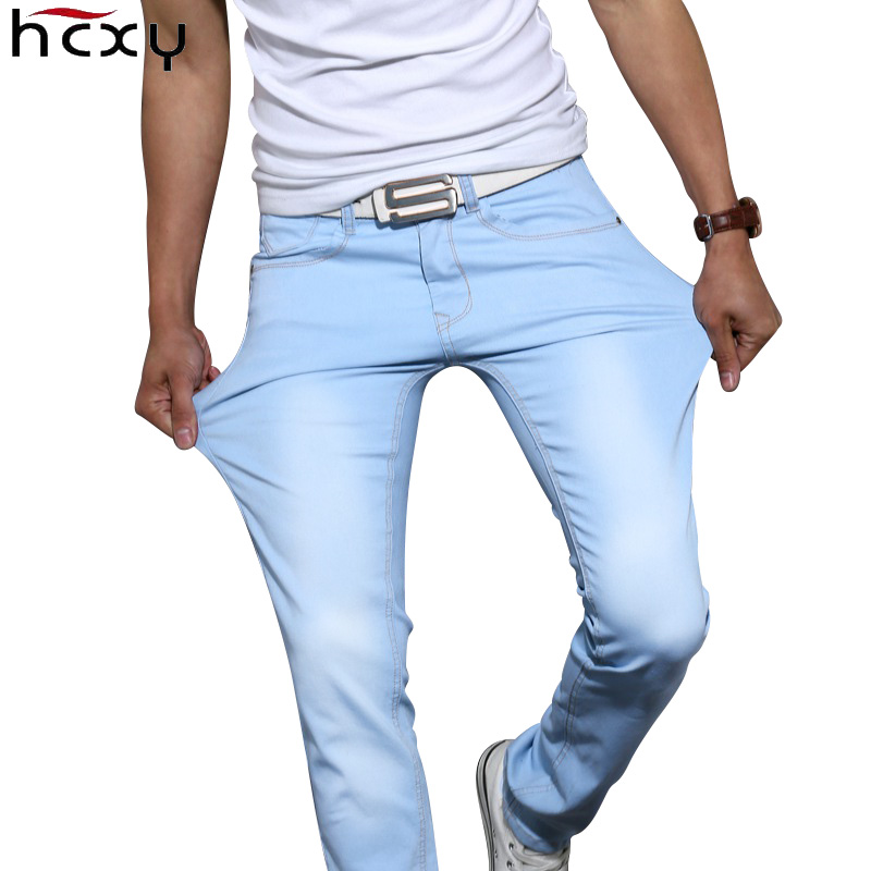 HCXY 2017 New autumn spring Fashion Men's Casual Elasticity  Stretch Men Jeans cottonTrousers Denim Pants Male Large size 38