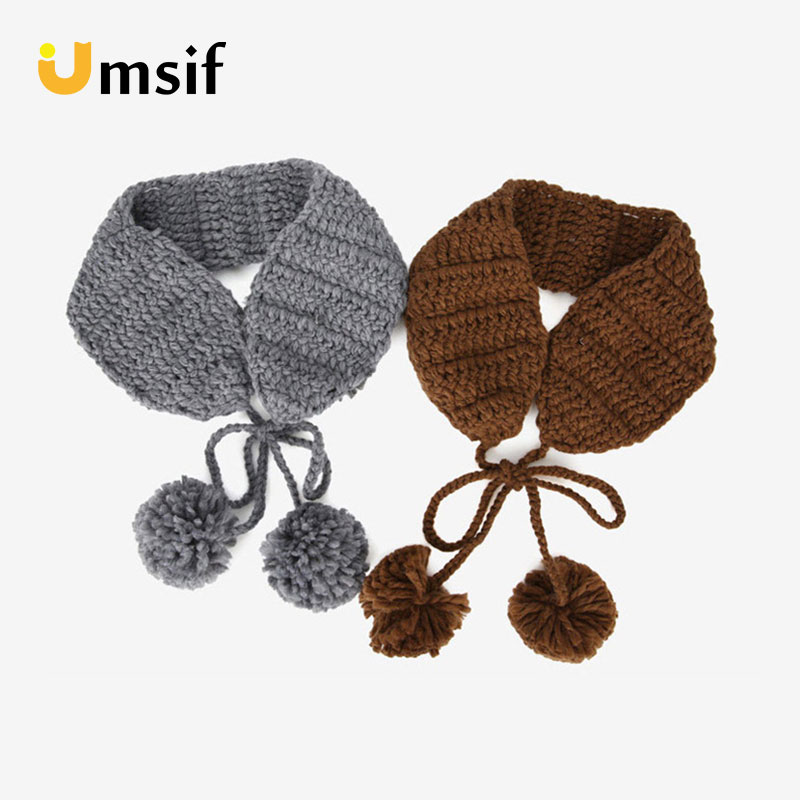 2018 New Fashion Winter Women's Woolen Knitted Warm Earmuffs Solid Color Pompom Lacing Earmuff For Women Female Ponytail Beanies