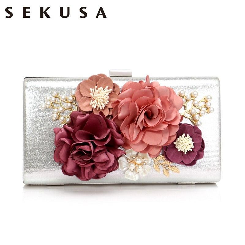 Aggressiv Sekusa Hochzeit Party Abend Taschen Frauen Blume Mode Kleine Tag Kupplungen Mit Kette Schulter Dame Shell Perlen Geldbörse Handtaschen