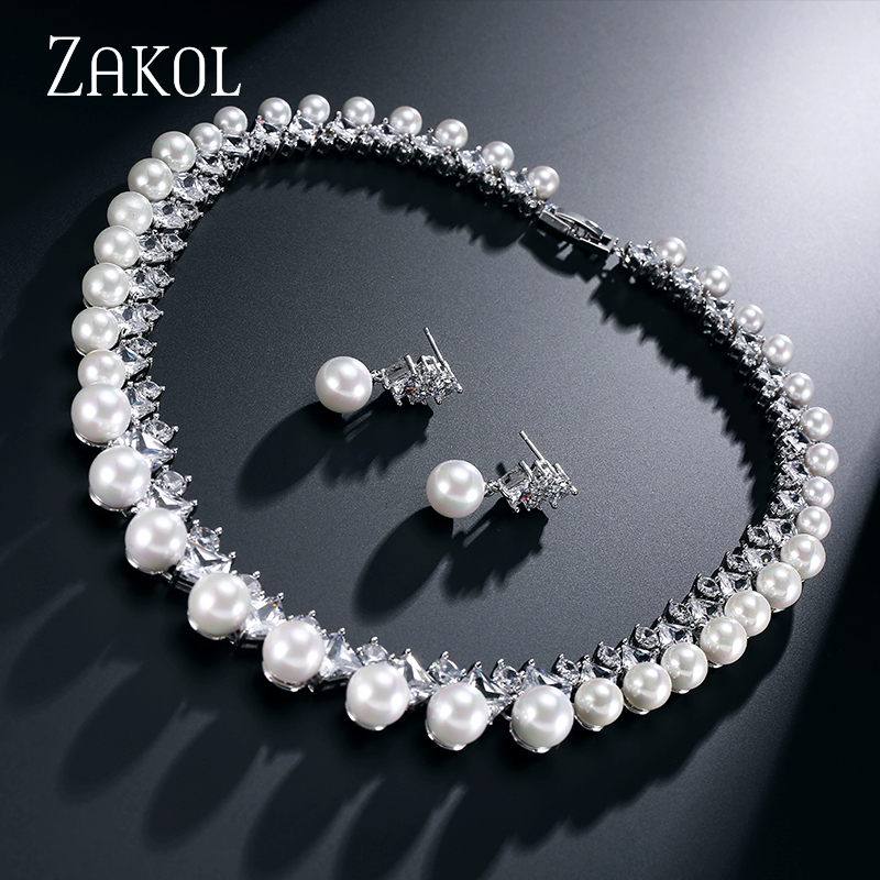 ZAKOL 2 Color Trendy Pure Freshwater Pearl Bridal Wedding Jewelry Sets with Top Quality AAA Cubic