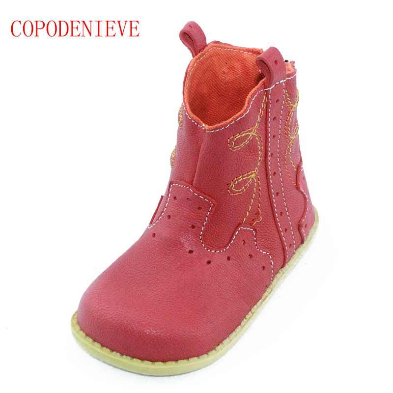 COPODENVE Spring Autumn Flower Kids boy Boots Girls Boots Genuine Leather Leather Children Shoes for Toddler Girls Martin Boots