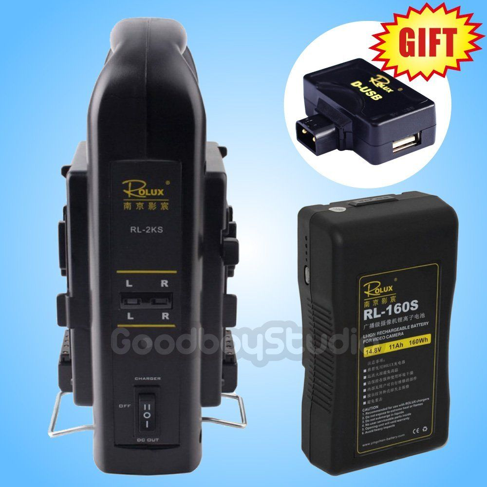 цена на Rolux RL-160S 160Wh S0ny V-mount Li-ion Battery + RL-2KS Dual Socket Charger