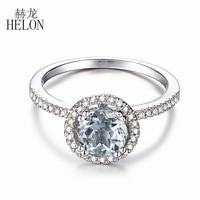 HELON Solid 14K White Gold Certified Round 0.85ct Aquamarine Gemstone Ring Natural Diamond Ring For Women Wedding Trendy Jewelry