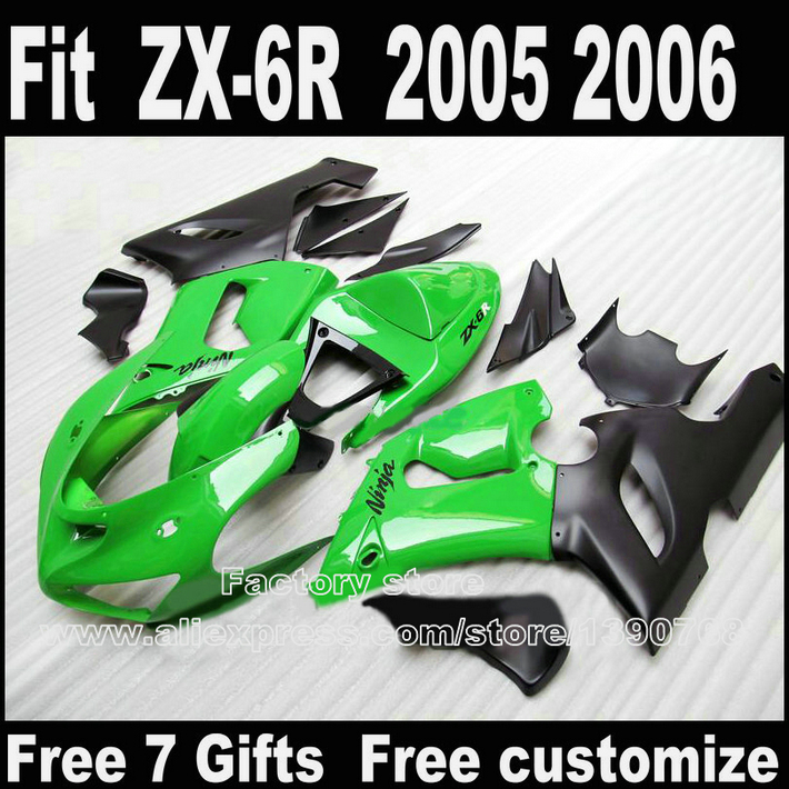 Lowest price Bodywork kit for Kawasaki ZX6R fairings 2005 2006 plastic green black ZX-6R 05 06 Ninja 636 fairing kits DS7 high quality abs plastic for kawasaki ninja zx10r zx 10r 2004 2005 04 05 moto custom made motorcycle fairing kit bodywork c459