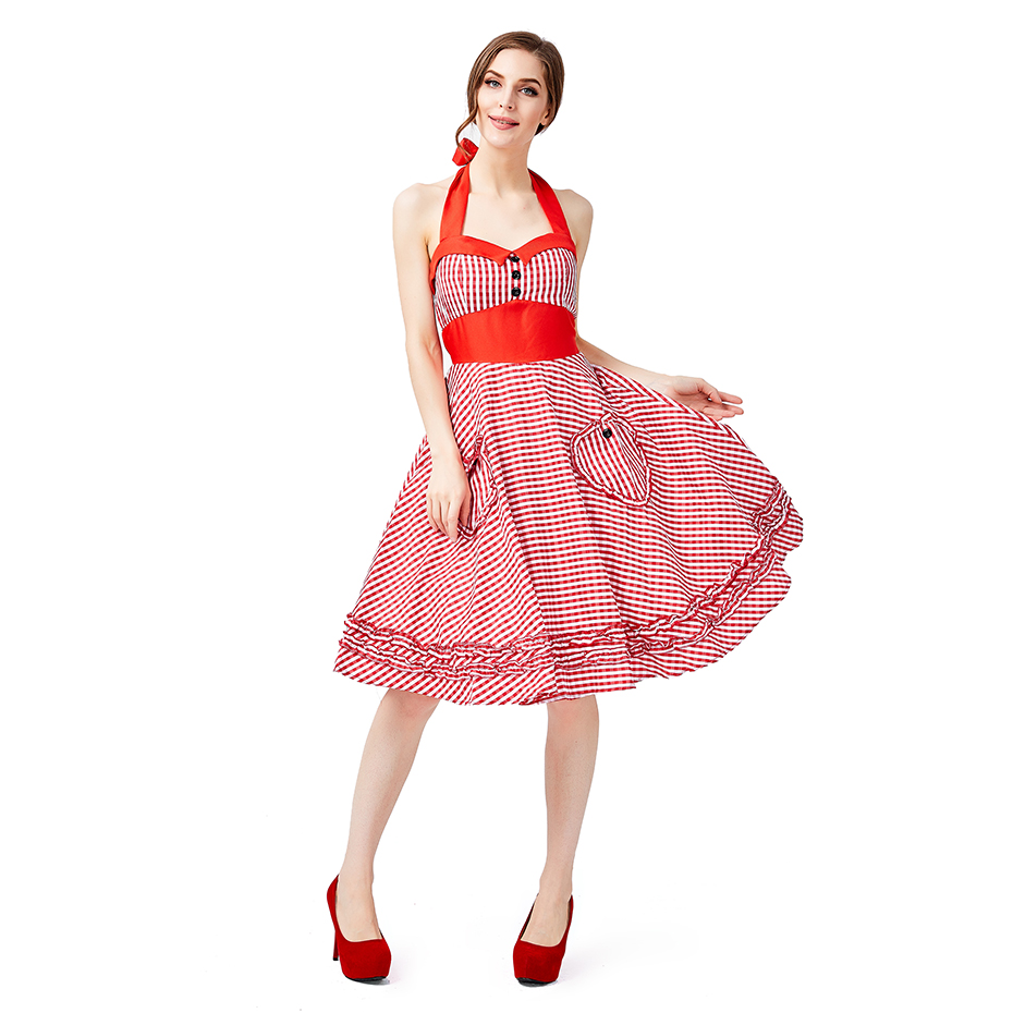 2019 new Red plaid beer suit Four color large swing skirt popular pastoral wind farm Sling dress Halloween summer in Movie TV costumes from Novelty Special Use