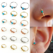 LNRRABC Stainless Steel Nostril Hoop Nose Ring Blue Stone Nose Earring Piercing Hip Hop Body Piercing Jewelry(China)
