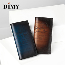 DIMY 2018 Men Wallet Vintage Style Business Card Genuine Leather Handmade Wallets Long Large Male Purses Handbag Gifts