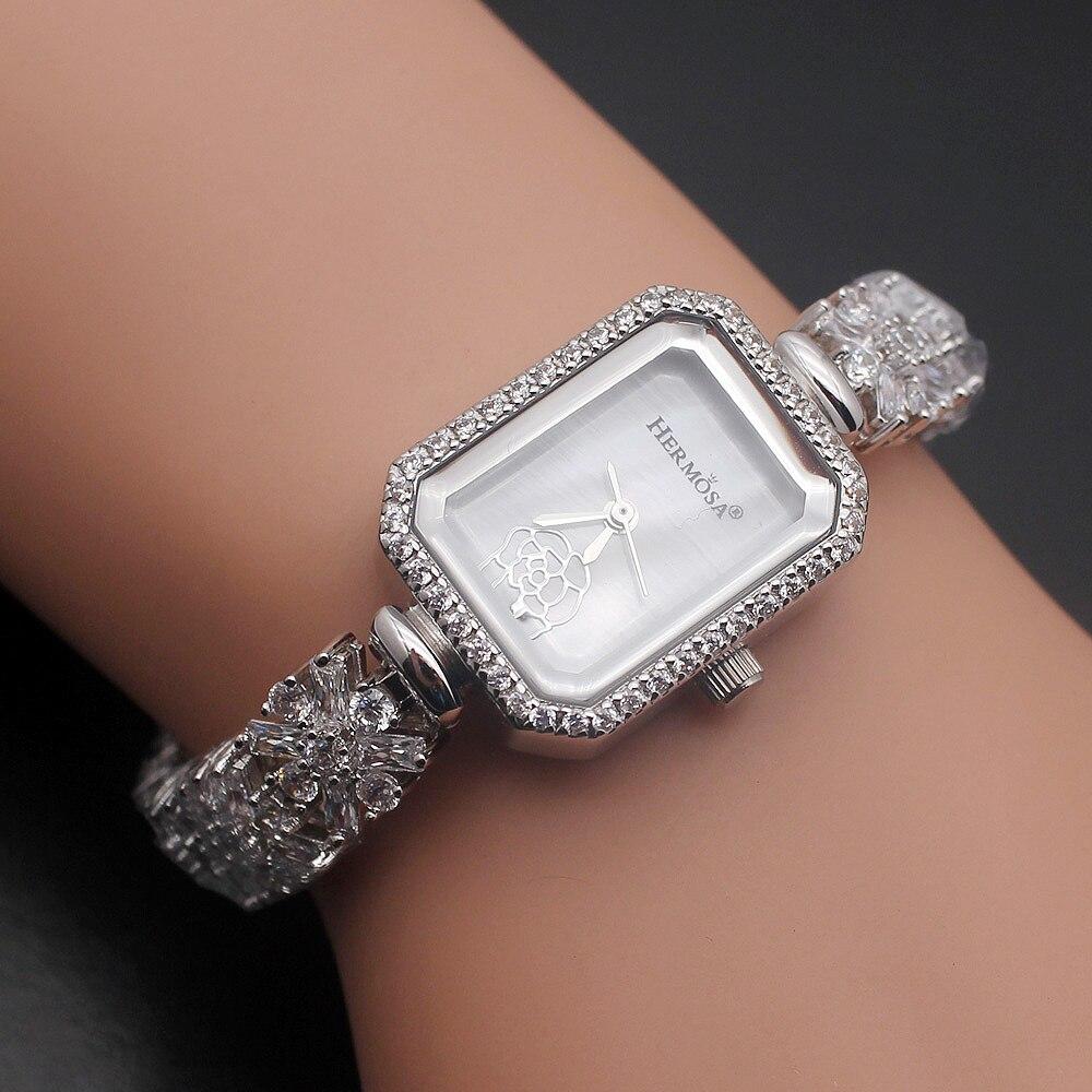 Nieuwe Komende Fashion Sterling Zilver Natuurlijke Witte Armbanden Sieraden Horloge 8 inch HS0025W Gratis Verzending-in Armring van Sieraden & accessoires op  Groep 1