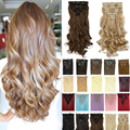 17 pulgadas 170g Pelo Rizado Clip En Pelo Sintético Natural Blonde Hair Styling Clip en Extensiones de Cabello 8 Unidades pieza