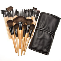 GUJHUI 32 Pcs Makeup Brushes Set Goat Hair Professional Brown Makeup Brush Foundation Powder Blush Eyeliner