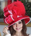 Women Derby Church Wedding Beach Cocktail Evening Sun Hats Dress Wide Brim Cap Show Satin Ribbon Millinery Accessory Fashion New