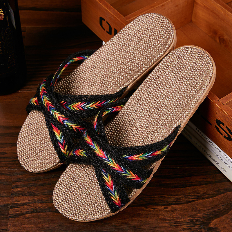 Women Indoor Slippers Home Flax Slides Summer Flat Shoes Woman House Floor Slippers Breathable Lovers Bedroom Shoes SH061202