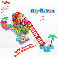 Interlocking Gears Toy Playset,DIY Changeable Bricks Electronic Building Gears Amusement park with music Educational Toys