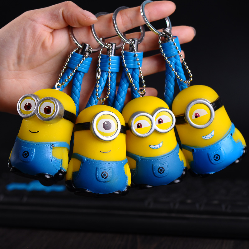 Cute Minions Keychains Rabbit Fur Ball Fluffy Pom Pom Leather Rope Bells Key Chains Holder Kids Toy Gift Key Ring car key chain ...
