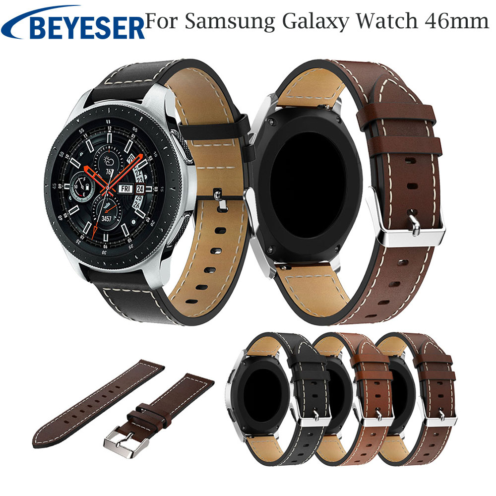 22mm Leather Watchband For Samsung Galaxy Watch 46mm Band Sport Strap For Samsung Galaxy Watch 46mm Bands Men Women Watch Strap