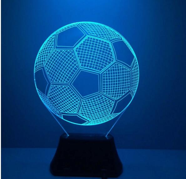 Novedad siete colores que cambian fútbol 3D Light Up de los juguetes