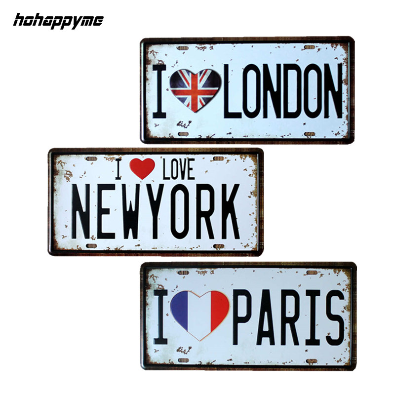 15 30 Cm I Love Paris London Newyork Vintage Sign Metal