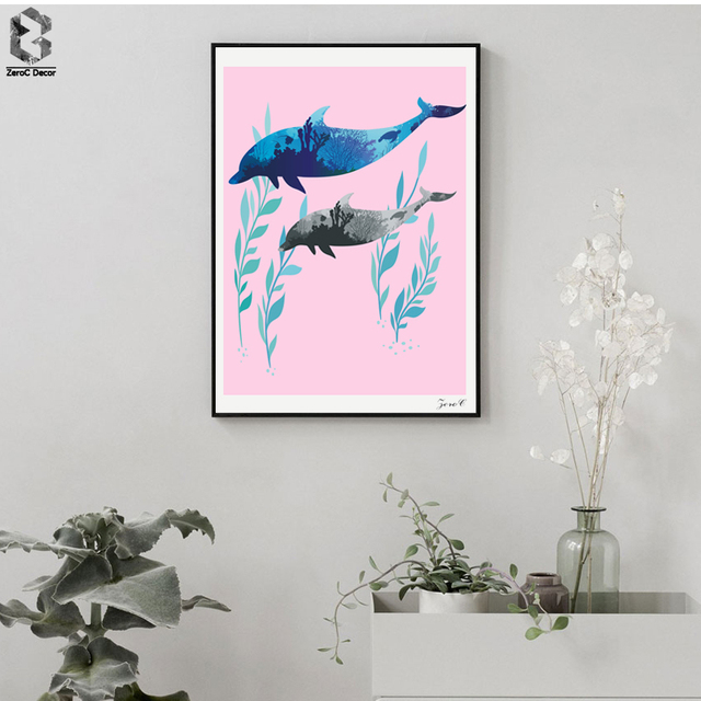 Silhouette Dolphin Posters and Prints Wall Art Canvas Painting Wall ...