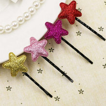2018 hot five-pointed star sequins clip Cute Sequins Pentagram Hair Clips Baby Girl Hairpin Child Hair Accessories(China)