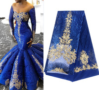 Королевский синий французский Африки кружевной ткани гипюр блестками хлопок шнур Тюль в нигерийском стиле Tissu Индии сетки кружева для свад...