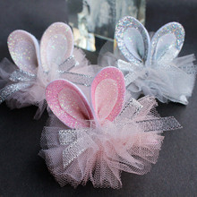 New Cartoon Amimals Rabbit Ears Kids Hair Clips Glitter Gauze Pink Silver Bowknot Grips Solid Top Quality Hairpin 3pcs/lot