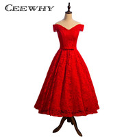 CEEWHY Robe De Soiree Lace Short Evening Dresses Red Banquet Wedding Party Dress Boat Neck A