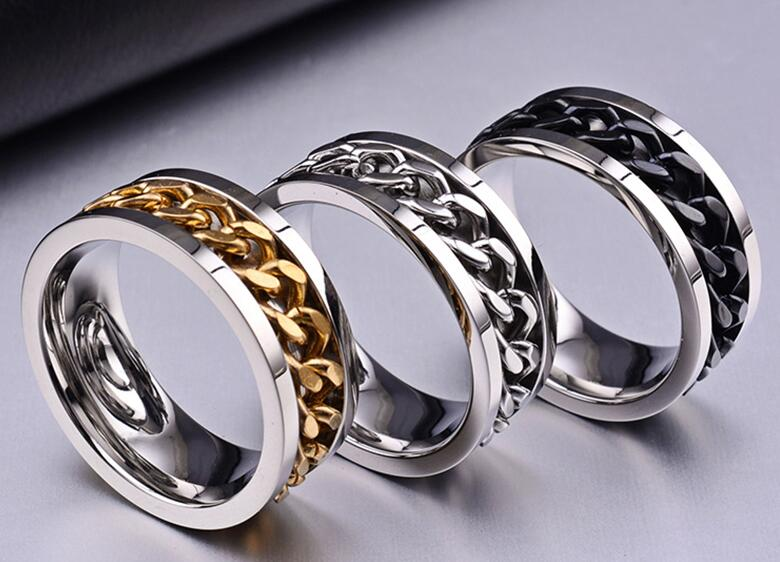 Queen New Trendy Jewelry Titanium Steel Men Women Finger Ring with Chain Inset Holiday Gifts Individual