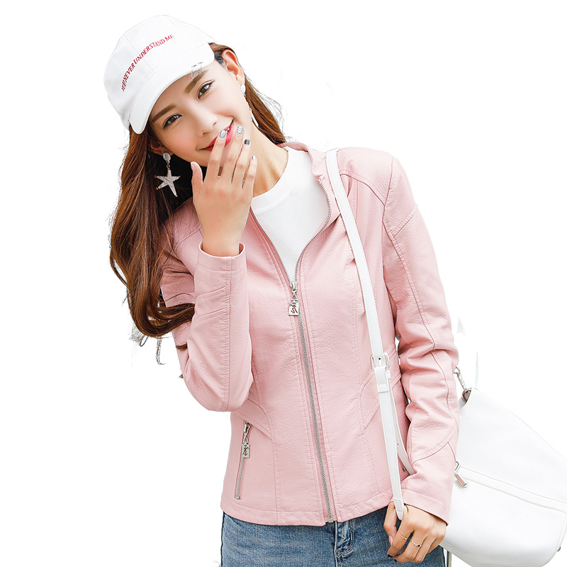 SWREDMI 2019 New Spring Pink   Leather   Coat Women Slim Casual   Leather   Jackets Female Short O-Neck Zipper Clothing S-XXL