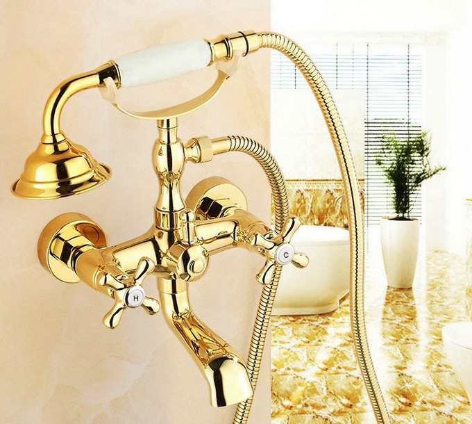 Luxury Golden Brass Double Handles Clawfoot Bathroom Tub Faucet w/ Telephone Style Handshower - Wall Mount atf123