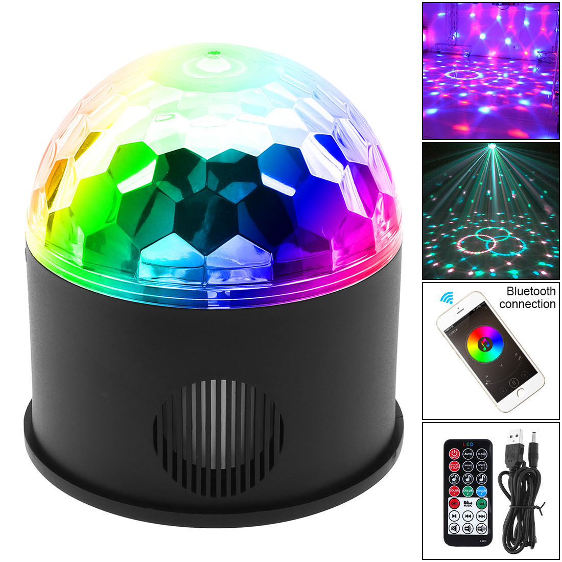 Wireless Bluetooth Speaker 9W 9 Colors Magic Ball Projector LED Stage Light Lamp Sound Control for Christmas Party DJ KTV Disco