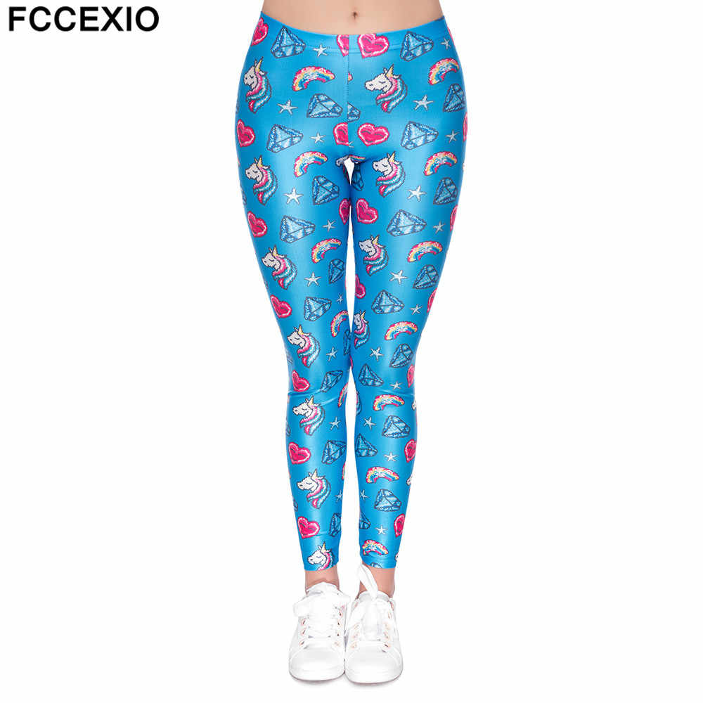 FCCEXIO ใหม่สไตล์ผู้หญิง Unicorn Leggings ออกกำลังกาย Leggings ฟิตเนส Legging เซ็กซี่กางเกงสูงเอวพิมพ์ Rainbow Star Donuts กางเกง