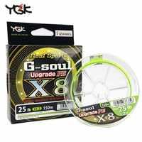 Original YGK G-SOUL X8 actualización PE trenzado multifilamento sedal 150m 200m Japón Material de agua salada carpa 8 hebras PE línea