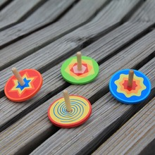 1pc Multicolored Spinning top colorful Wood gyro Kindergarten font b toys b font Wood font b